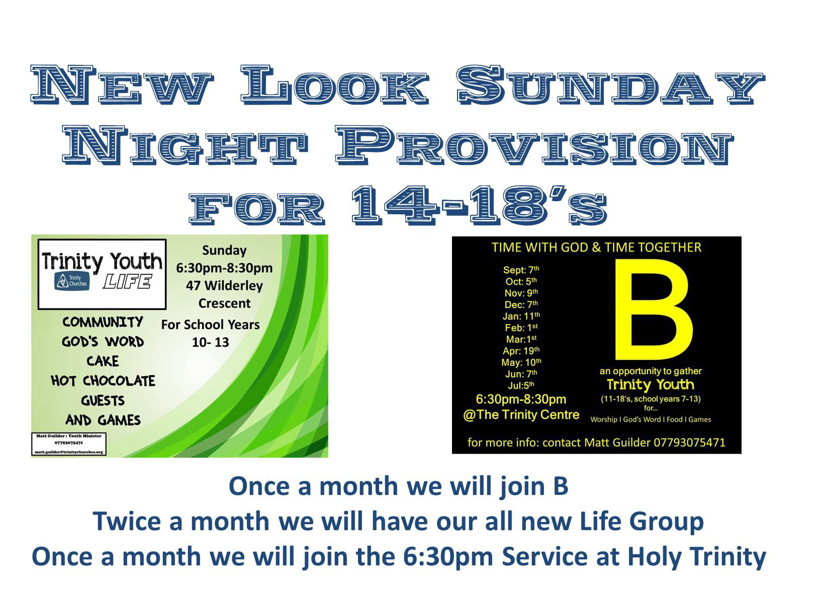 New Sunday night Youth Programme from September