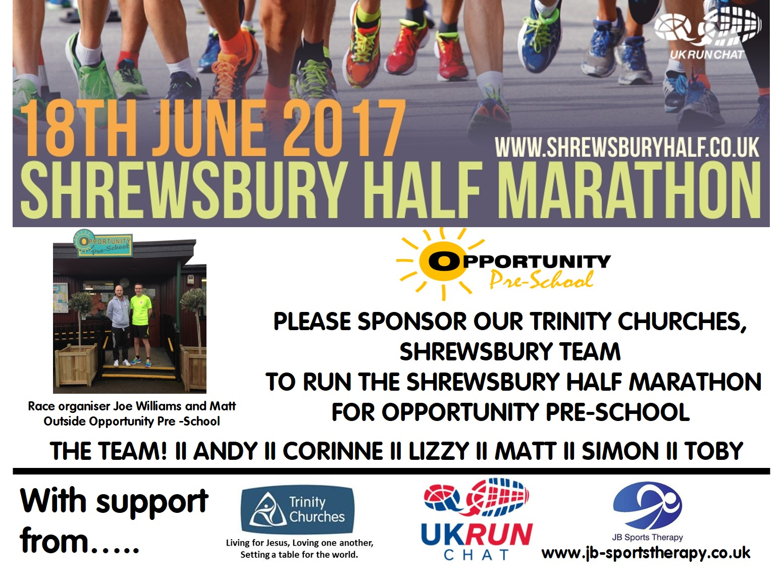 Trinity Churches to Run Shrewsbury Half Marathon